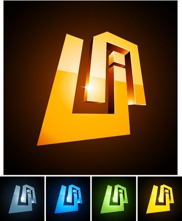 illustration of 3d UA symbols. Vector