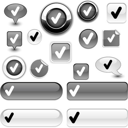 Check vector grey icons. Stock Vector - 8635790