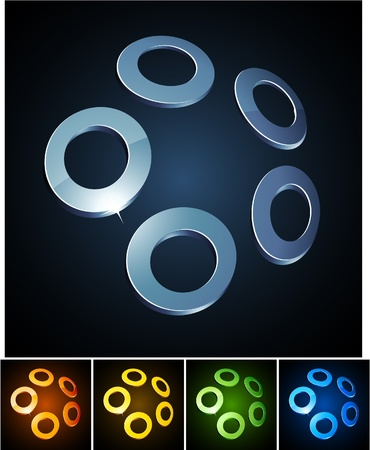 illustration of 3d shiny rings.  Vector