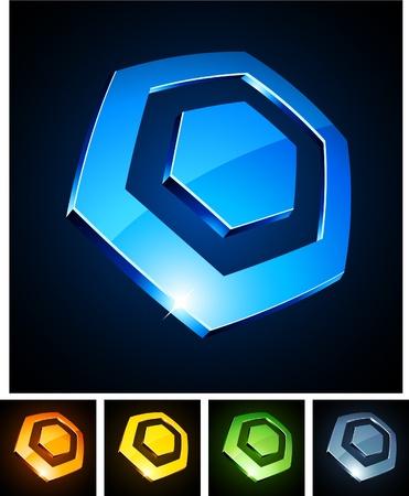 illustration of 3d hexagonal symbols. Stock Vector - 8656497