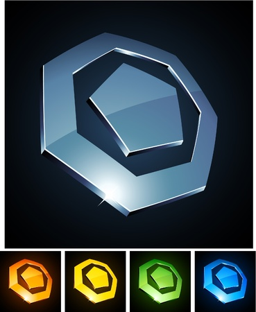 illustration of heptagonal shiny symbols.  Vector