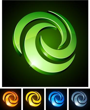 illustration of swirl shiny symbols.  Vector