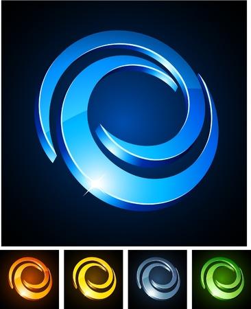 company logos:  illustration of 3d Swirl symbols.  Illustration