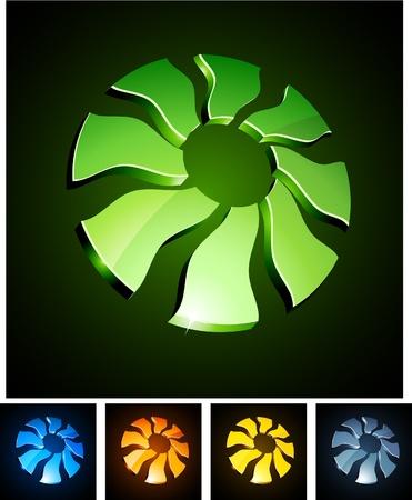 illustration of 3d sun symbols.  Vector