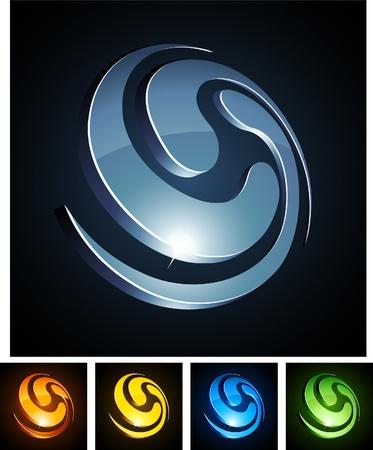 orange swirl:   illustration of swirl shiny symbols.  Illustration