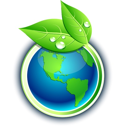 planeta verde:   S�mbolo del medio ambiente.  Vectores