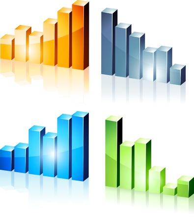 statistique:   brillants graphiques 3d.  Illustration