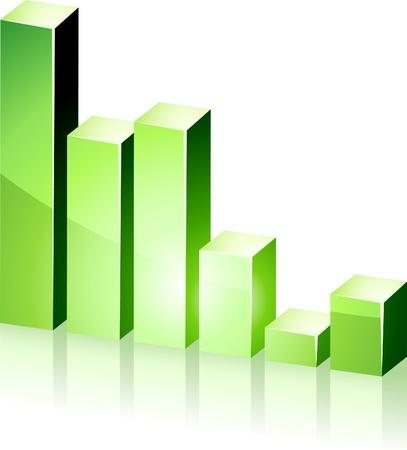 bright 3d green  graph.  Stock Vector - 8656538