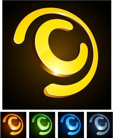 letter c:   illustration of 3d C symbols.