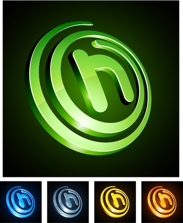 illustration of h shiny letters.  Vector