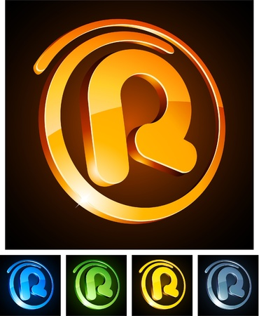 illustration of r 3d shiny letters.  Vector
