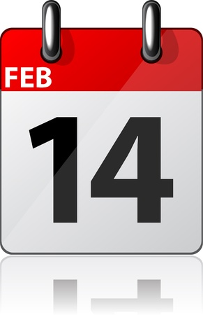 Vector illustration of 14th february date.  Vector