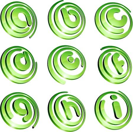 letter i: Set of 3d letter  signs. Illustration