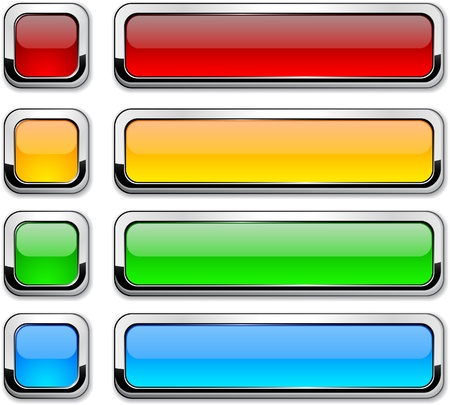 rectangular: Set of buttons with metallic borders.