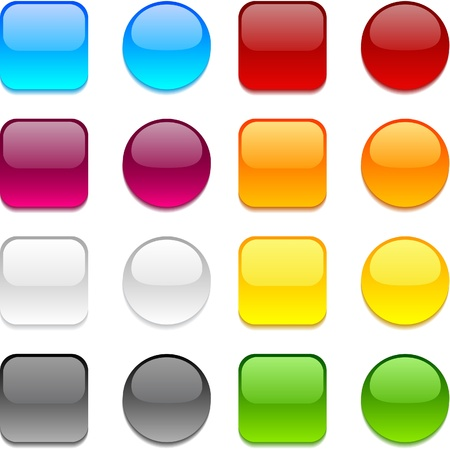 rounded squares: Collection of web buttons in different colors.
