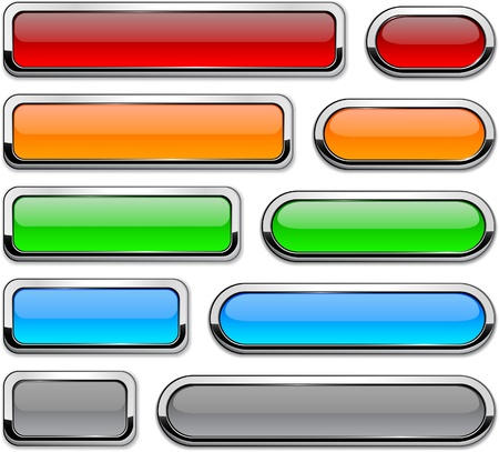 menu button: Collection of  buttons with metallic borders.  Illustration
