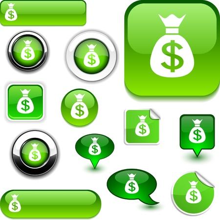 Money   glossy icons.  Vector