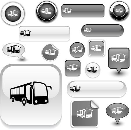 Bus   grey icons.  Vector