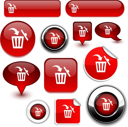 Delete  high-detailed icons.  Vector