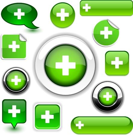 Green cross  high-detailed icons.  Vector
