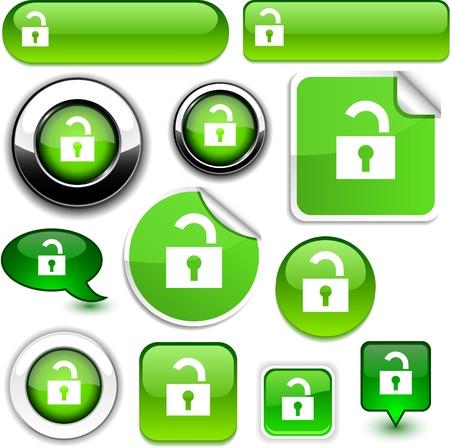 Padlock  glossy icons.  Vector