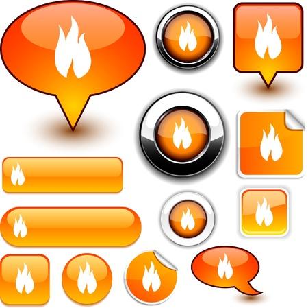 Feuer glänzend Icons.