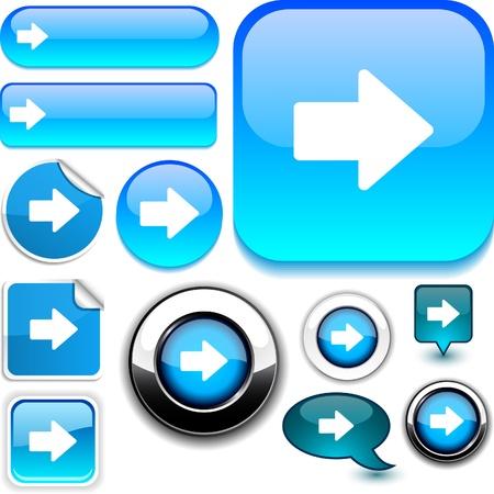 Arrow  glossy icons. Stock Vector - 8755192