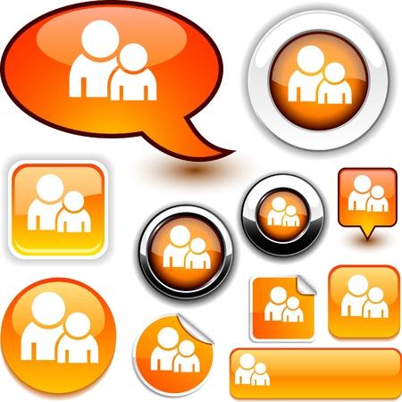 Forum des icônes sur papier glacé.  Vecteurs