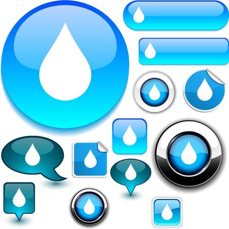 reflejo en el agua: Iconos de brillantes de gota de lluvia.
