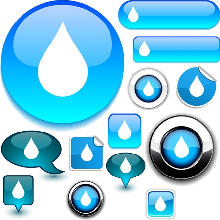 grey water: Raindrop glossy icons.