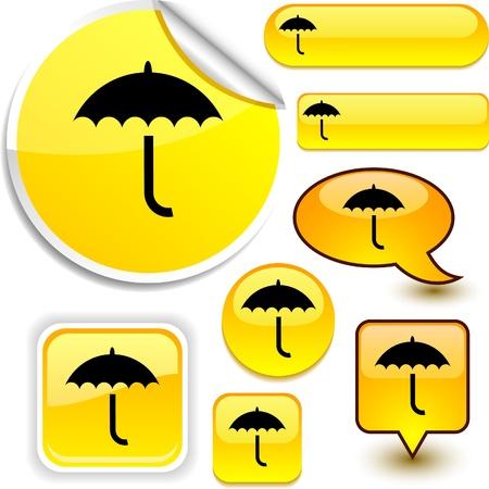 Umbrella vector glossy icons.