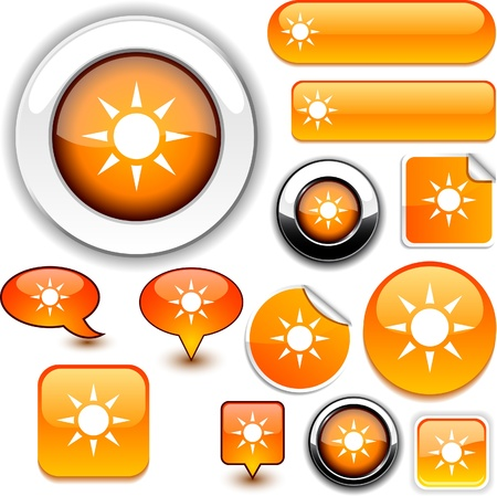 rectangle button: Sun vector glossy icons.