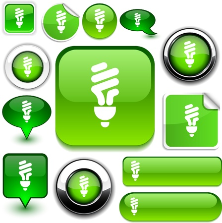 metal light bulb icon: Fluorescent bulb vector glossy icons.