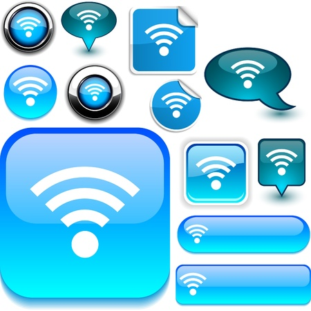 wifi sign: Rss vector glossy icons.