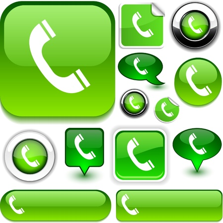 phone button:  Telephone vector glossy icons.  Illustration