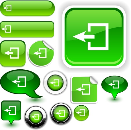 Exit vector glossy icons.  Vector