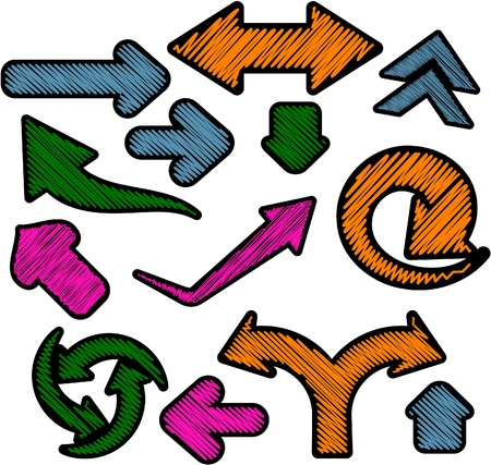 Scribbled collection of arrows stickers. Vector EPS8. Vector