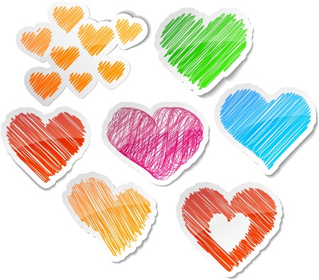 scribbled: Scribbled collection of heart stickers. Illustration