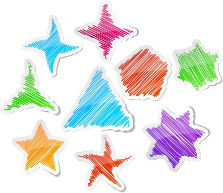 Scribbled collection of stars stickers.  Vector