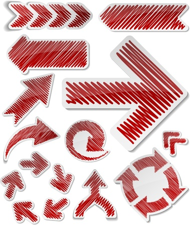 Scribbled collection of arrows stickers. Vector
