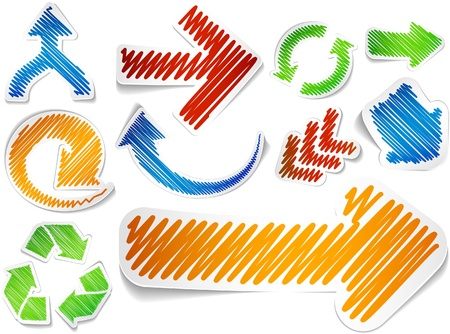 Scribbled collection of arrows stickers Stock Vector - 8895153