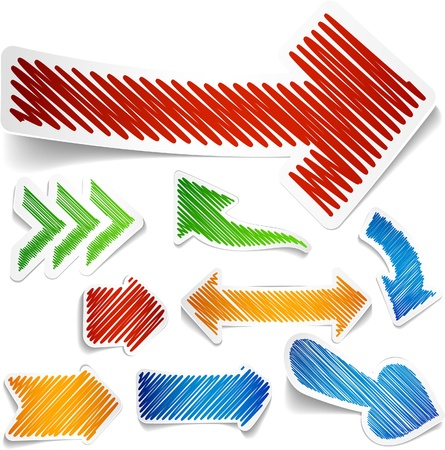 Scribbled collection of arrows stickers  Illustration