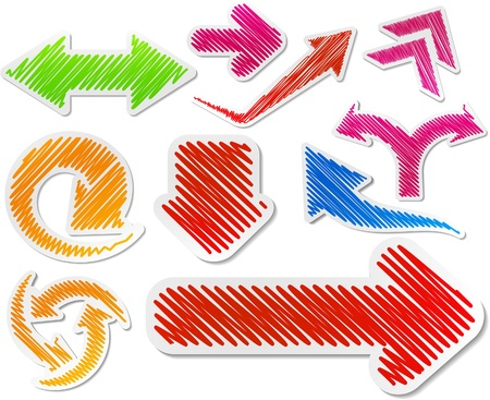 Scribbled collection of arrows stickers. Stock Vector - 8907018