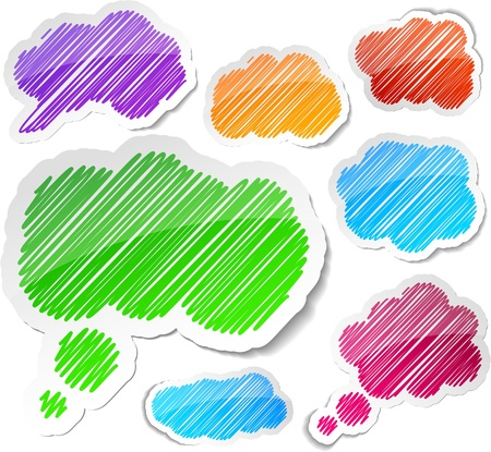 Scribbled collection of speech cloud stickers.  Vector