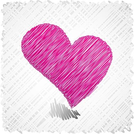 scribbled: Scribbled pink heart symbol.   Illustration