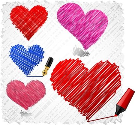 Scribbled sert of heart symbols.