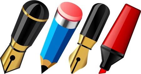 pencil cartoon:   Ilustraci�n de instrumentos de escritura de la escuela.