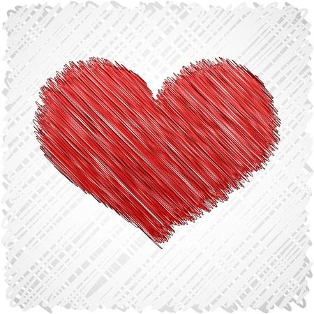 Símbolo de garabateado corazón rojo.