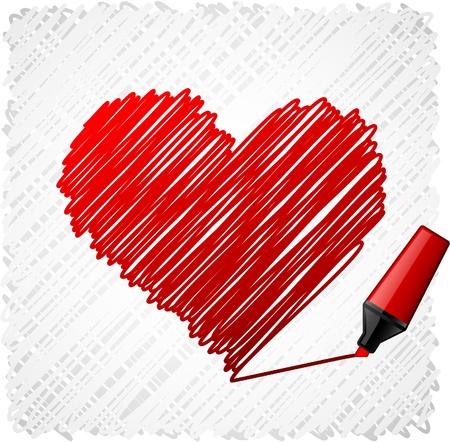 Symbole gribouillées coeur rouge.