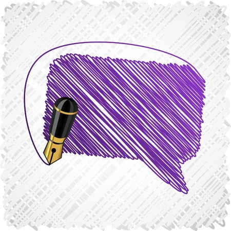 scribbled: Scribbled violet speech symbol.   Illustration
